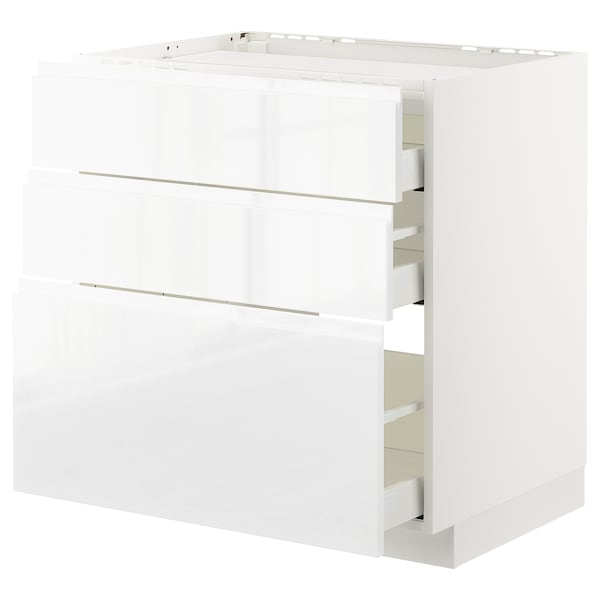 METOD / MAXIMERA Base cab f hob/3 fronts/3 drawers, white/Voxtorp high-gloss/white, 80x60 cm