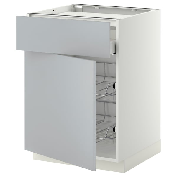 METOD / MAXIMERA Base cab f hob/drawer/2 wire bskts, white/Veddinge grey, 60x60 cm