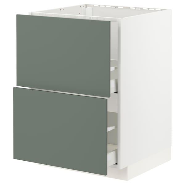 METOD / MAXIMERA Base cab f sink+2 fronts/2 drawers, white/Bodarp grey-green, 60x60 cm