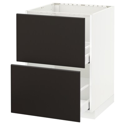 METOD / MAXIMERA Base cab f sink+2 fronts/2 drawers, white/Kungsbacka anthracite, 60x60 cm
