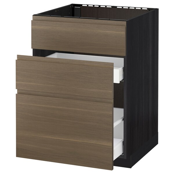 METOD / MAXIMERA Base cab f sink+3 fronts/2 drawers, black/Voxtorp walnut, 60x60 cm