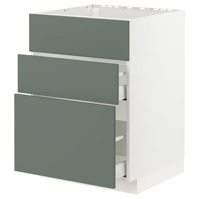 METOD / MAXIMERA Base cab f sink+3 fronts/2 drawers, white/Bodarp grey-green, 60x60 cm