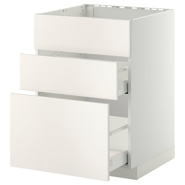 METOD / MAXIMERA Base cab f sink+3 fronts/2 drawers, white/Veddinge white, 60x60 cm