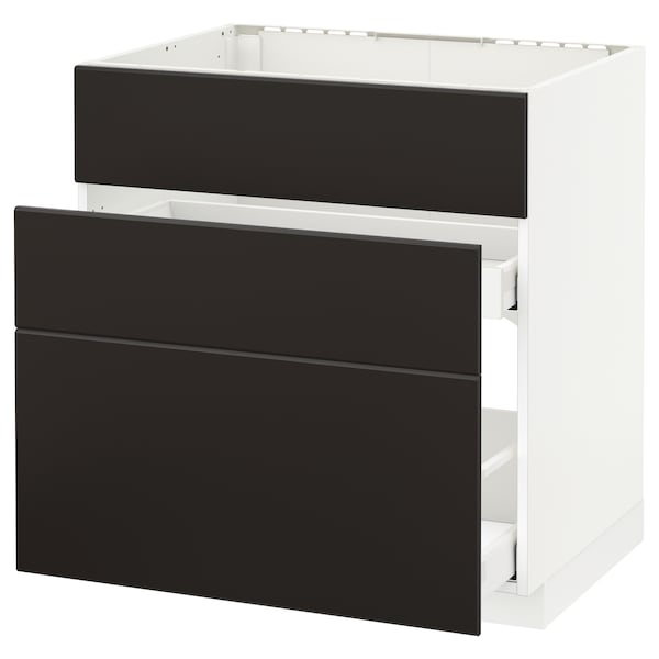 METOD / MAXIMERA base cab f sink+3 fronts/2 drawers white/Kungsbacka anthracite 80.0 cm 61.6 cm 88.0 cm 60.0 cm 80.0 cm