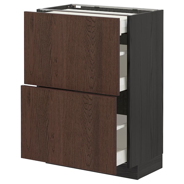 METOD / MAXIMERA Base cab with 2 fronts/3 drawers, black/Sinarp brown, 60x37 cm