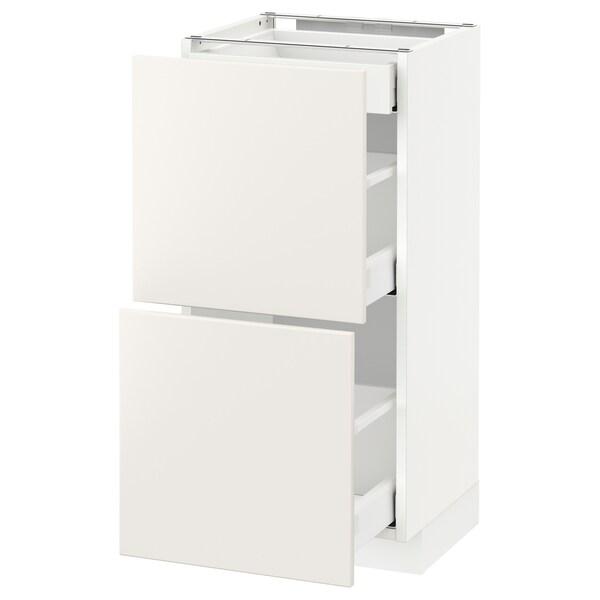 METOD / MAXIMERA Base cab with 2 fronts/3 drawers, white/Veddinge white, 40x37 cm