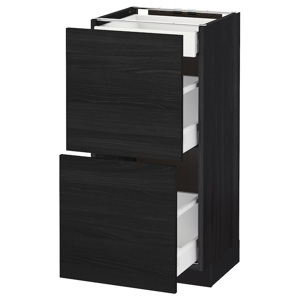 METOD / MAXIMERA base cab with 2 fronts/3 drawers black/Tingsryd black 40.0 cm 39.2 cm 88.0 cm 37.0 cm 80.0 cm