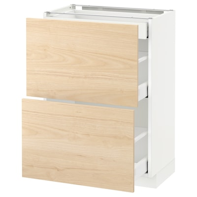 METOD / MAXIMERA base cab with 2 fronts/3 drawers white/Askersund light ash effect 60.0 cm 39.2 cm 88.0 cm 37.0 cm 80.0 cm
