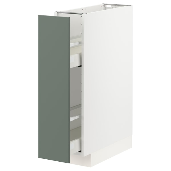 METOD / MAXIMERA Base cabinet/pull-out int fittings, white/Bodarp grey-green, 20x60 cm