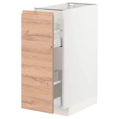 METOD / MAXIMERA Base cabinet/pull-out int fittings, white/Voxtorp oak effect, 30x60 cm