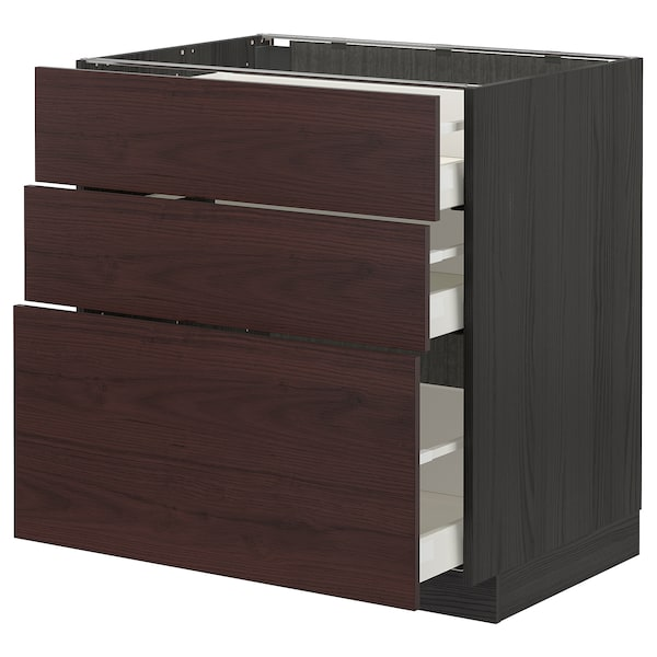 METOD / MAXIMERA Base cabinet with 3 drawers, black Askersund/dark brown ash effect, 80x60 cm