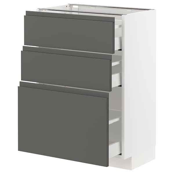 METOD / MAXIMERA Base cabinet with 3 drawers, white/Voxtorp dark grey, 60x37 cm