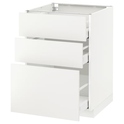 METOD / MAXIMERA base cabinet with 3 drawers white/Häggeby white 60.0 cm 61.6 cm 88.0 cm 60.0 cm 80.0 cm
