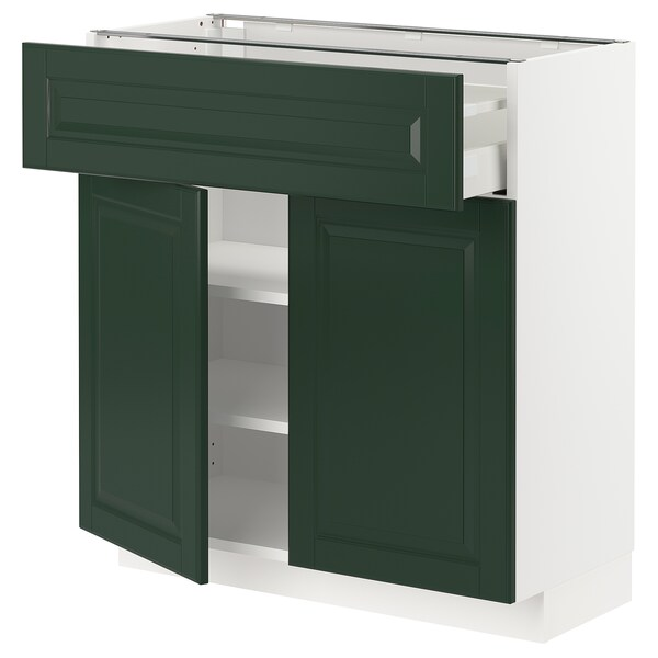 METOD / MAXIMERA Base cabinet with drawer/2 doors, white/Bodbyn dark green, 80x37 cm