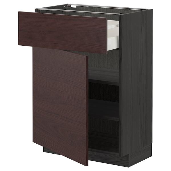 METOD / MAXIMERA Base cabinet with drawer/door, black Askersund/dark brown ash effect, 60x37 cm
