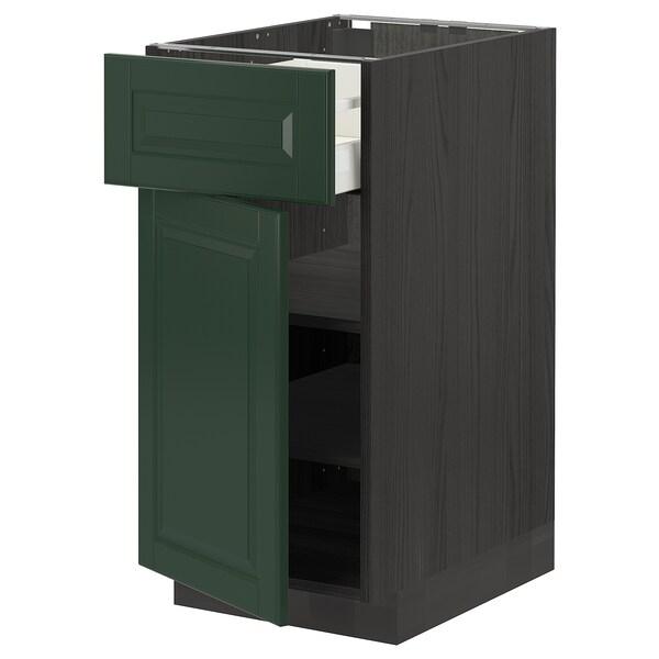 METOD / MAXIMERA Base cabinet with drawer/door, black/Bodbyn dark green, 40x60 cm