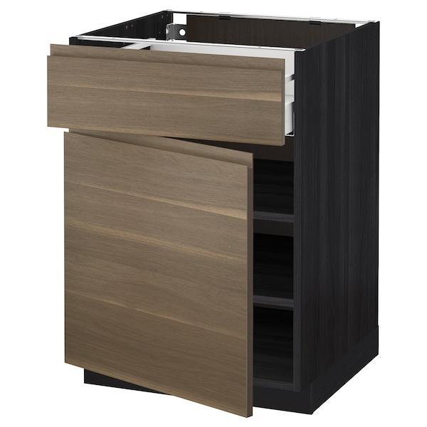 METOD / MAXIMERA Base cabinet with drawer/door, black/Voxtorp walnut effect, 60x60 cm