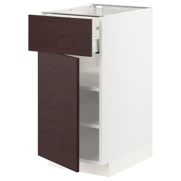 METOD / MAXIMERA Base cabinet with drawer/door, white Askersund/dark brown ash effect, 40x60 cm