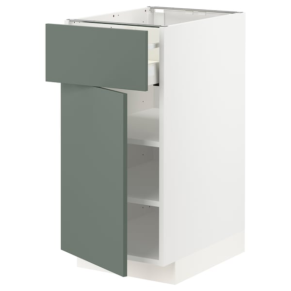 METOD / MAXIMERA Base cabinet with drawer/door, white/Bodarp grey-green, 40x60 cm