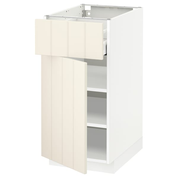 METOD / MAXIMERA Base cabinet with drawer/door, white/Hittarp off-white, 40x60 cm