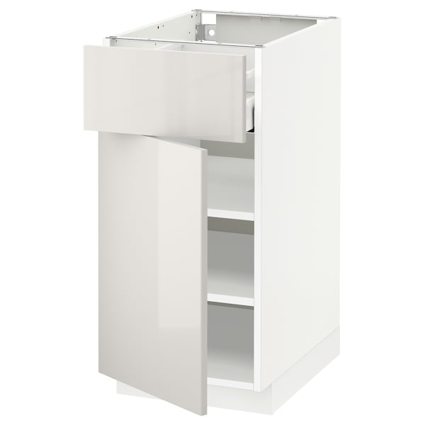 METOD / MAXIMERA Base cabinet with drawer/door, white/Ringhult light grey, 40x60 cm