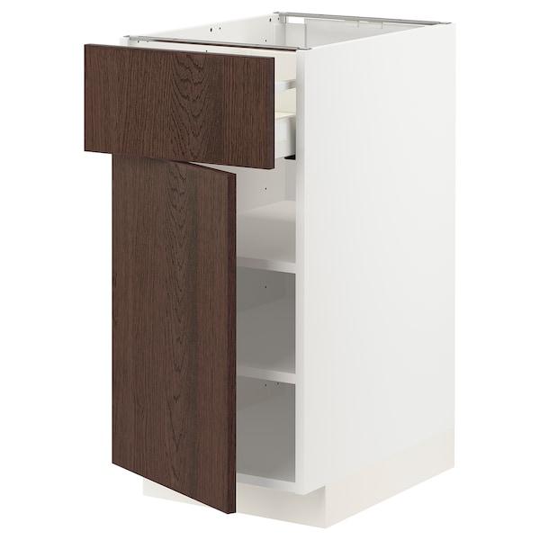 METOD / MAXIMERA Base cabinet with drawer/door, white/Sinarp brown, 40x60 cm
