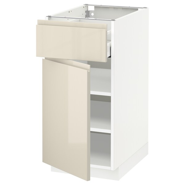 METOD / MAXIMERA Base cabinet with drawer/door, white/Voxtorp high-gloss light beige, 40x60 cm