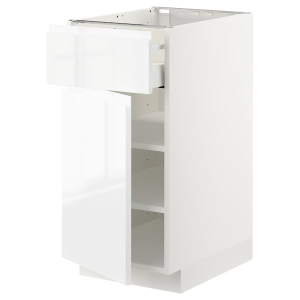 METOD / MAXIMERA Base cabinet with drawer/door, white/Voxtorp high-gloss/white, 40x60 cm