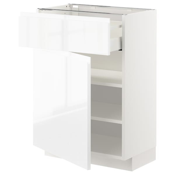 METOD / MAXIMERA Base cabinet with drawer/door, white/Voxtorp high-gloss/white, 60x37 cm
