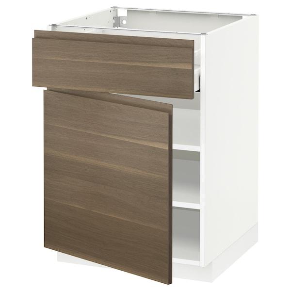 METOD / MAXIMERA Base cabinet with drawer/door, white/Voxtorp walnut effect, 60x60 cm