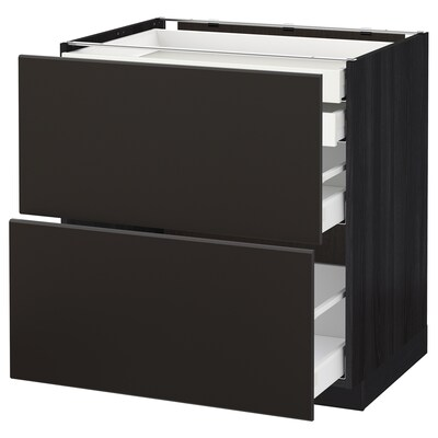 METOD / MAXIMERA Base cb 2 frnts/2 low/1 md/1 hi drw, black/Kungsbacka anthracite, 80x60 cm