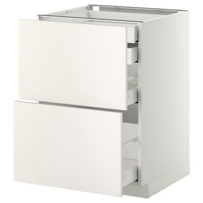 METOD / MAXIMERA Base cb 2 frnts/2 low/1 md/1 hi drw, white/Veddinge white, 60x60 cm