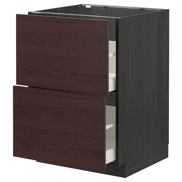METOD / MAXIMERA Base cb 2 fronts/2 high drawers, black Askersund/dark brown ash effect, 60x60 cm