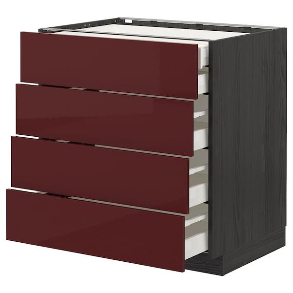 METOD / MAXIMERA Base cb 4 frnts/2 low/3 md drwrs, black Kallarp/high-gloss dark red-brown, 80x60 cm