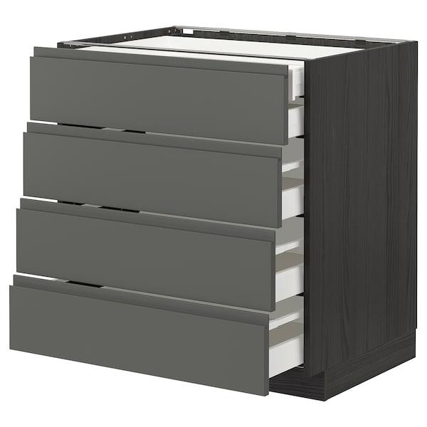 METOD / MAXIMERA Base cb 4 frnts/2 low/3 md drwrs, black/Voxtorp dark grey, 80x60 cm