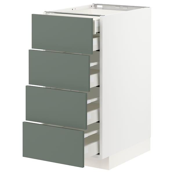 METOD / MAXIMERA Base cb 4 frnts/2 low/3 md drwrs, white/Bodarp grey-green, 40x60 cm