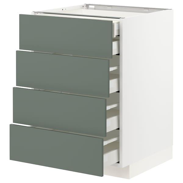 METOD / MAXIMERA Base cb 4 frnts/2 low/3 md drwrs, white/Bodarp grey-green, 60x60 cm