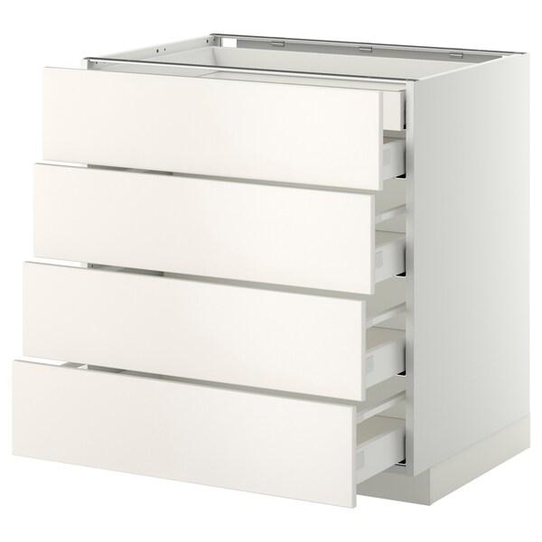 METOD / MAXIMERA Base cb 4 frnts/2 low/3 md drwrs, white/Veddinge white, 80x60 cm