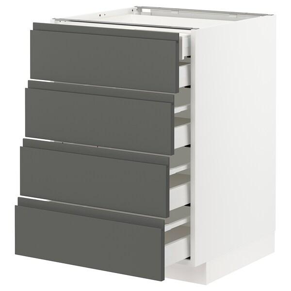 METOD / MAXIMERA Base cb 4 frnts/2 low/3 md drwrs, white/Voxtorp dark grey, 60x60 cm