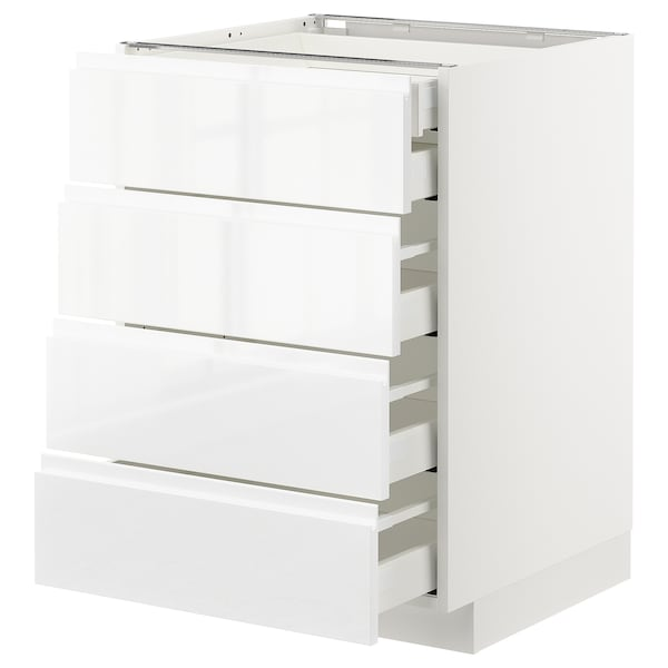 METOD / MAXIMERA Base cb 4 frnts/2 low/3 md drwrs, white/Voxtorp high-gloss/white, 60x60 cm