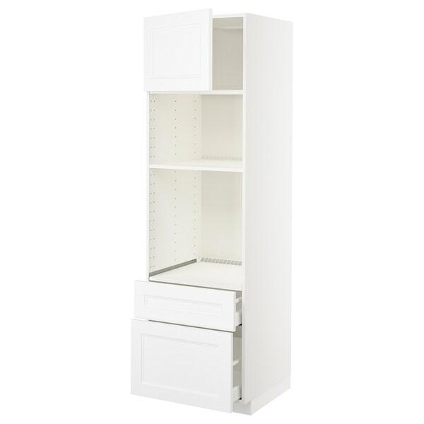 METOD / MAXIMERA High cab f oven/micro w dr/2 drwrs, white/Axstad matt white, 60x60x200 cm