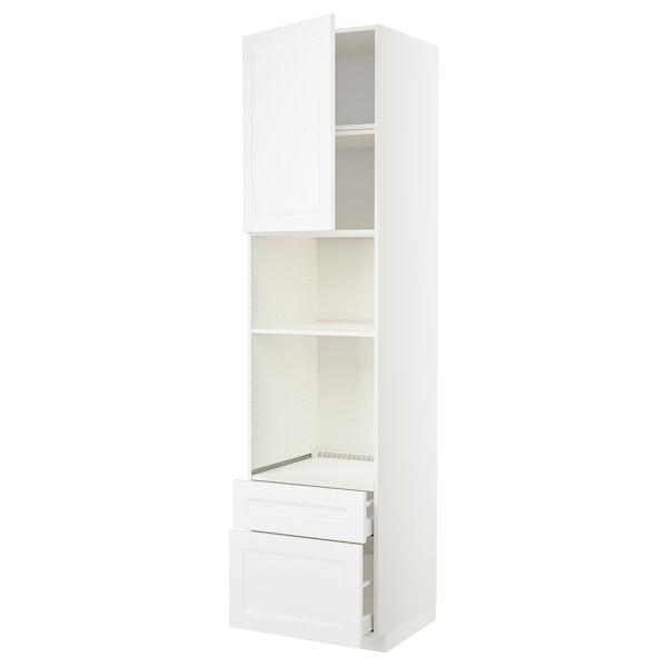 METOD / MAXIMERA High cab f oven/micro w dr/2 drwrs, white/Axstad matt white, 60x60x240 cm
