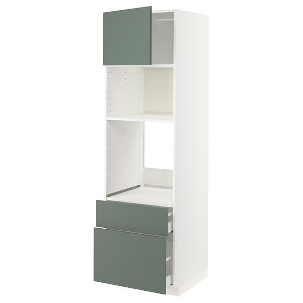 METOD / MAXIMERA High cab f oven/micro w dr/2 drwrs, white/Bodarp grey-green, 60x60x200 cm
