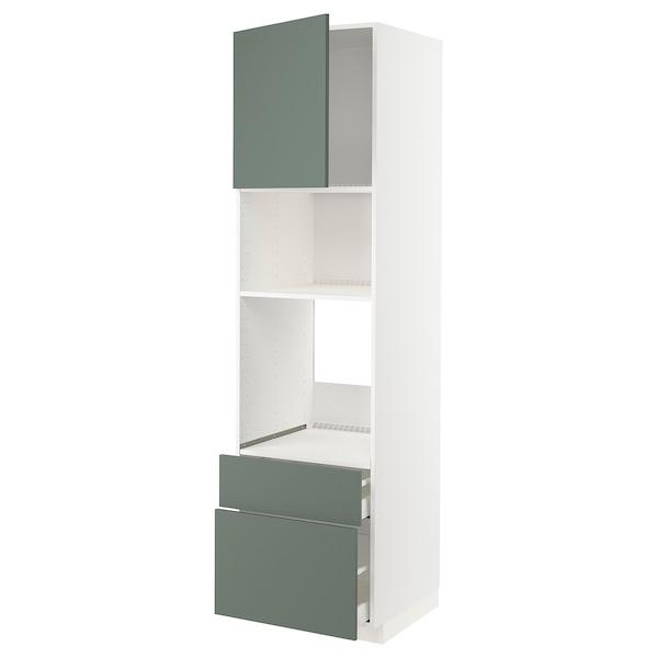 METOD / MAXIMERA High cab f oven/micro w dr/2 drwrs, white/Bodarp grey-green, 60x60x220 cm