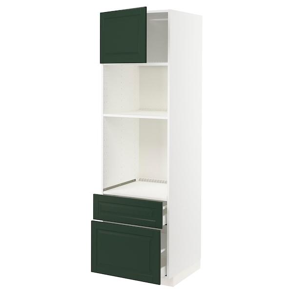 METOD / MAXIMERA High cab f oven/micro w dr/2 drwrs, white/Bodbyn dark green, 60x60x200 cm