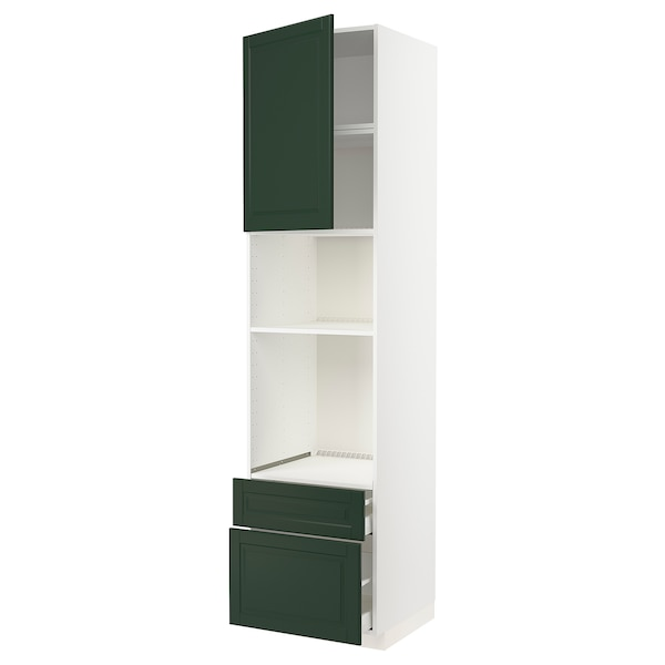 METOD / MAXIMERA High cab f oven/micro w dr/2 drwrs, white/Bodbyn dark green, 60x60x240 cm
