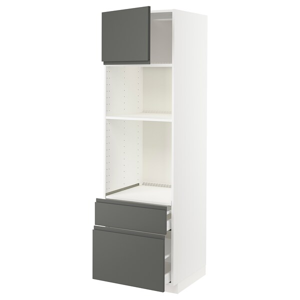 METOD / MAXIMERA High cab f oven/micro w dr/2 drwrs, white/Voxtorp dark grey, 60x60x200 cm