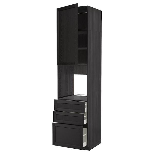METOD / MAXIMERA High cab f oven w door/3 drawers, black/Lerhyttan black stained, 60x60x240 cm