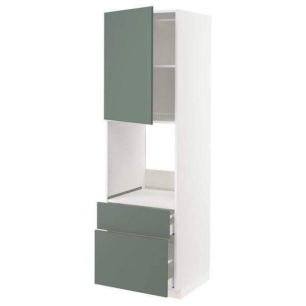 METOD / MAXIMERA High cabinet f oven+door/2 drawers, white/Bodarp grey-green, 60x60x200 cm