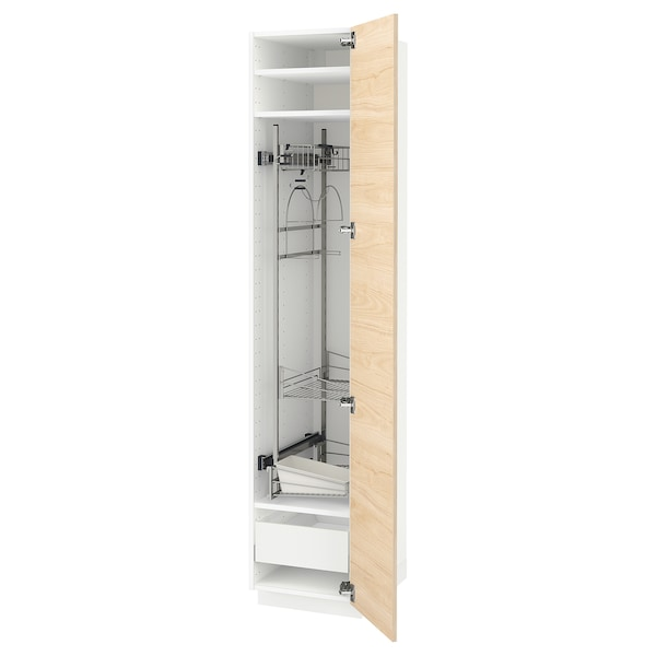 METOD / MAXIMERA High cabinet with cleaning interior, white/Askersund light ash effect, 40x60x200 cm